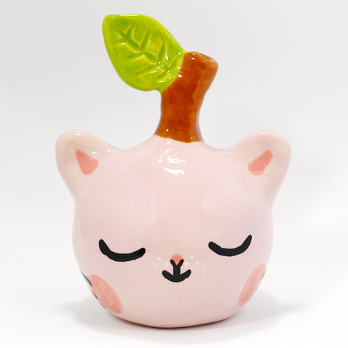 Ceramic Apple Kitty Figurine #1214