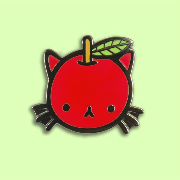 Cat Apple Pin - SALE