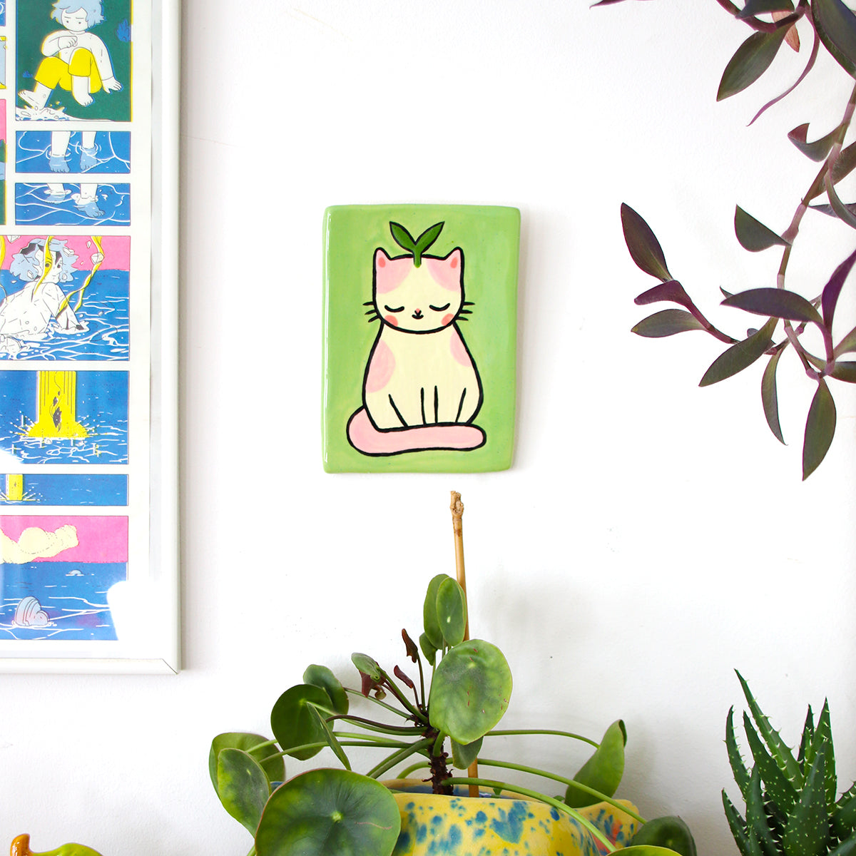 Ceramic Plant Kitty Wall-Hanging Tile #1401