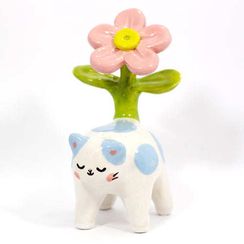 Ceramic Plant Kitty Figurine #1219