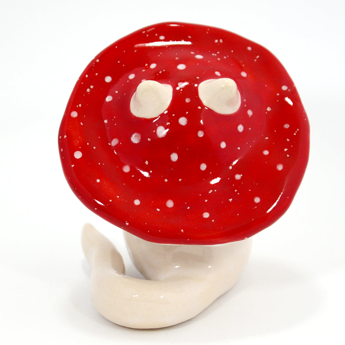 Ceramic Mushroom Kitty Figurine #1414