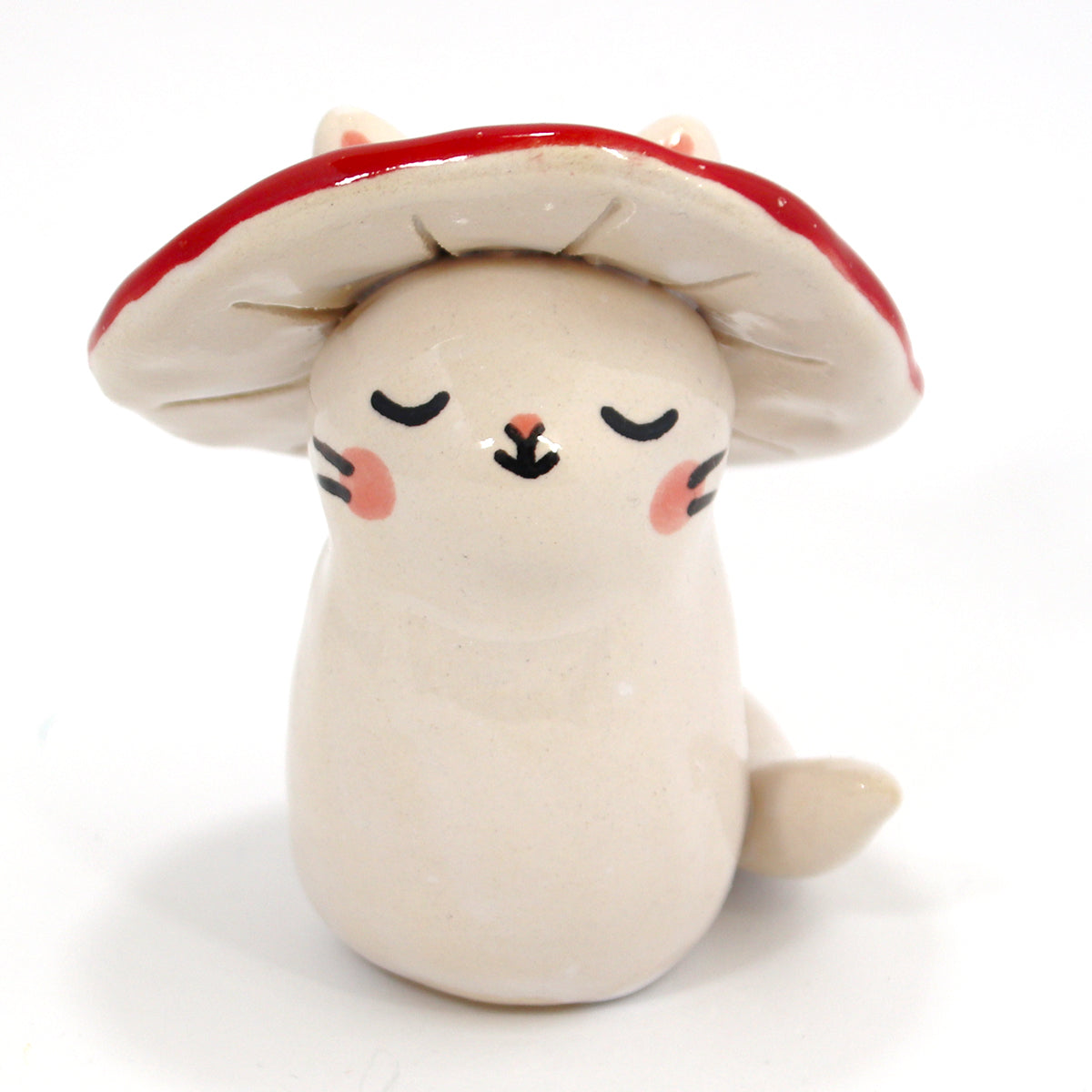 Ceramic Mushroom Kitty Figurine #1415