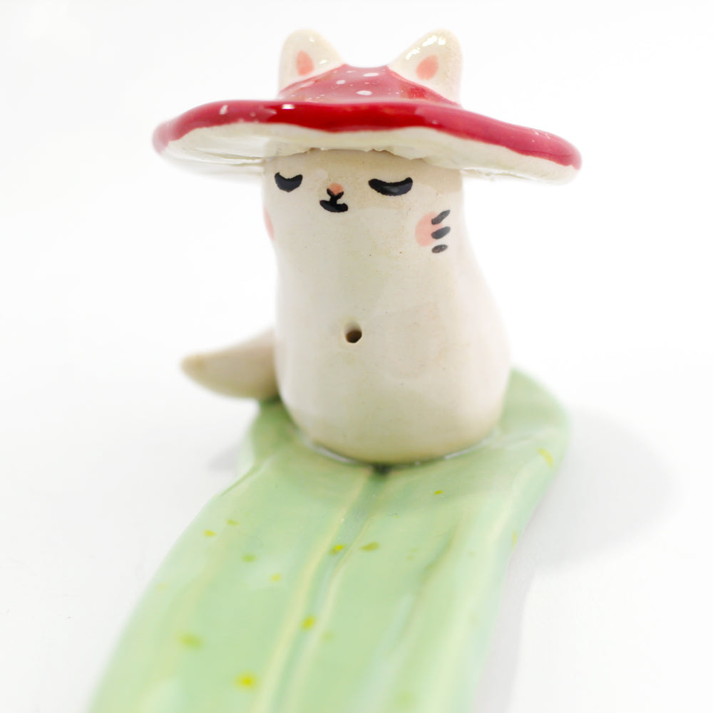 Ceramic Mushroom Kitty Incense Burner #1067