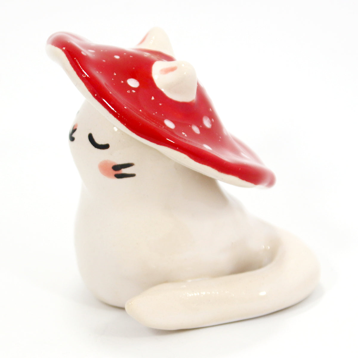 Ceramic Mushroom Kitty Figurine #1420