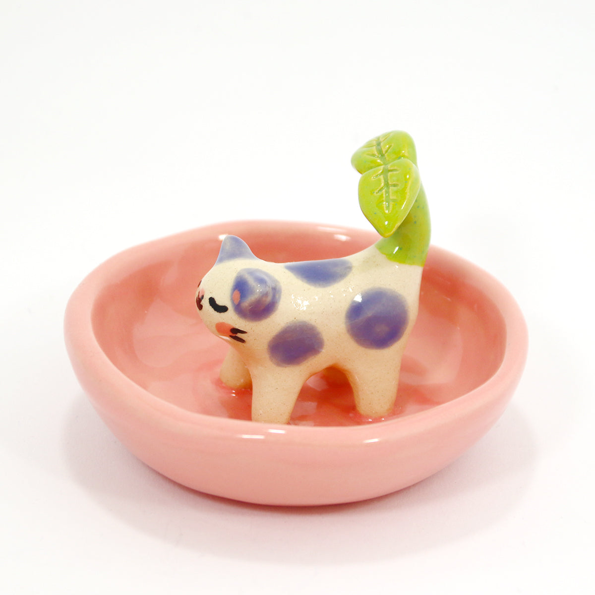 Ceramic Plant Kitty Trinket Dish #1423