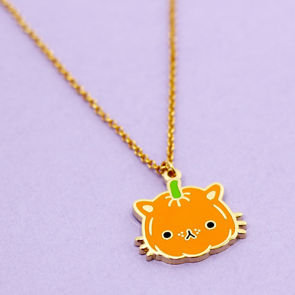 Pumpkin Kitty Necklace
