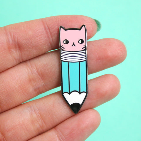 Pencil Kitty Enamel Pin