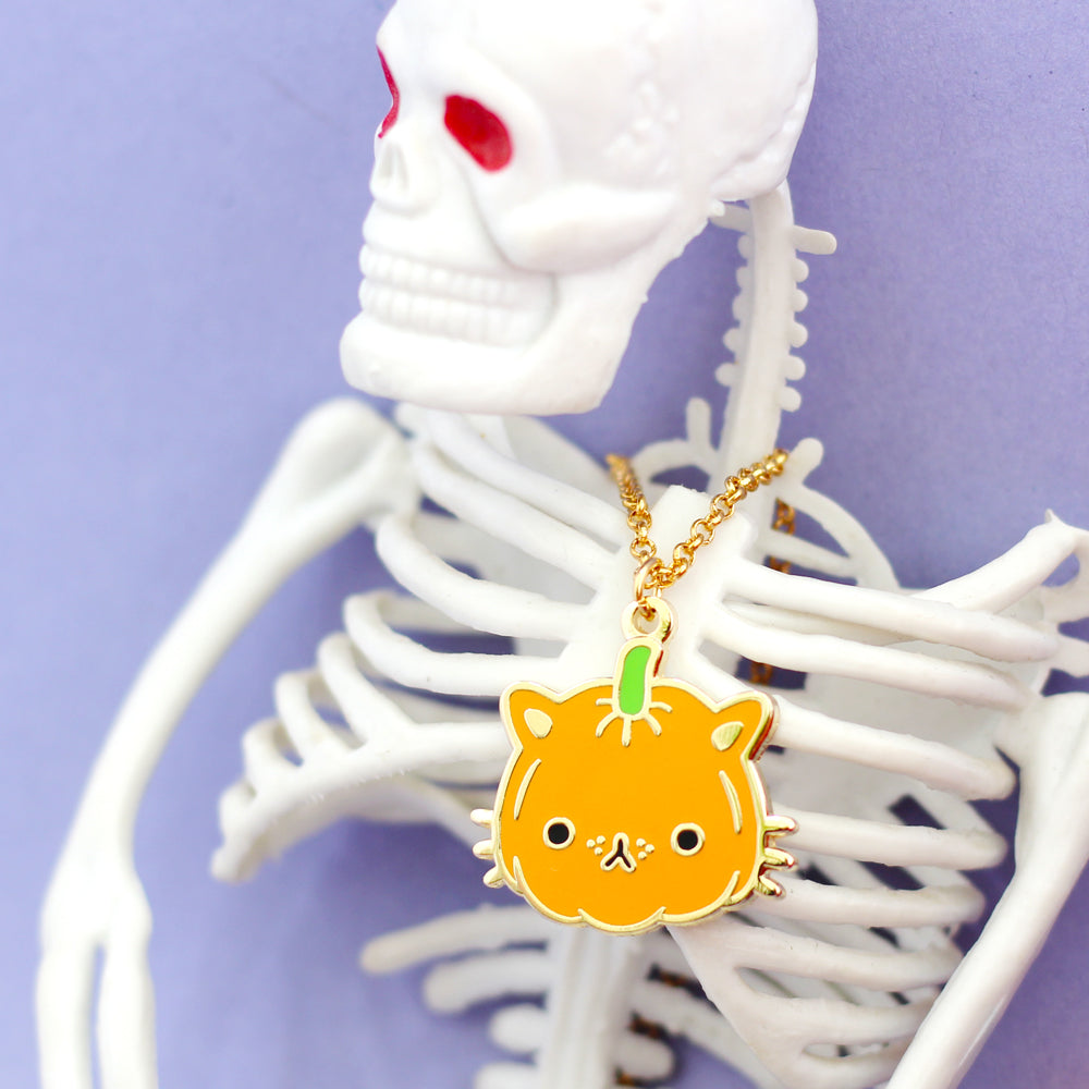 Pumpkin Kitty Necklace - SALE