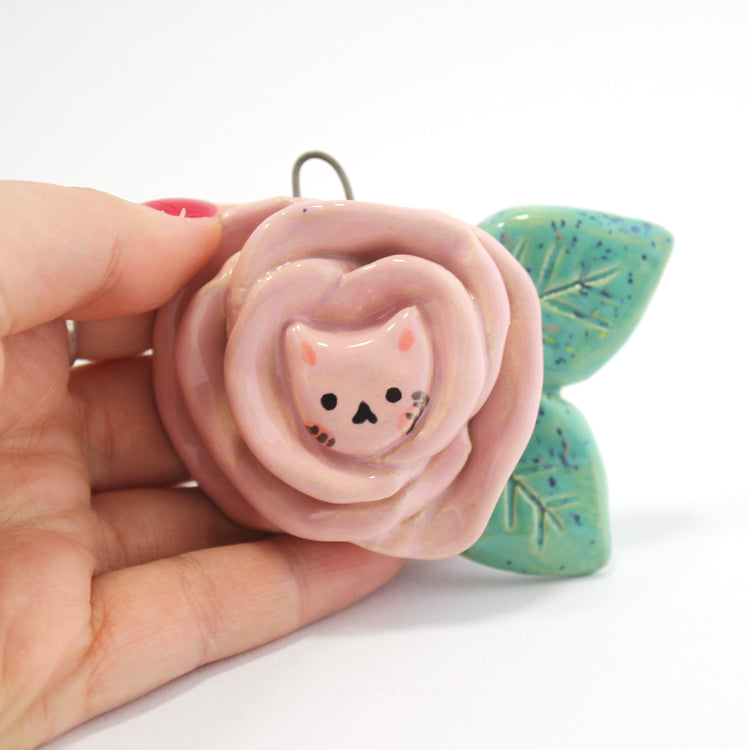 Ceramic Flower Kitty Wall Hanging #569