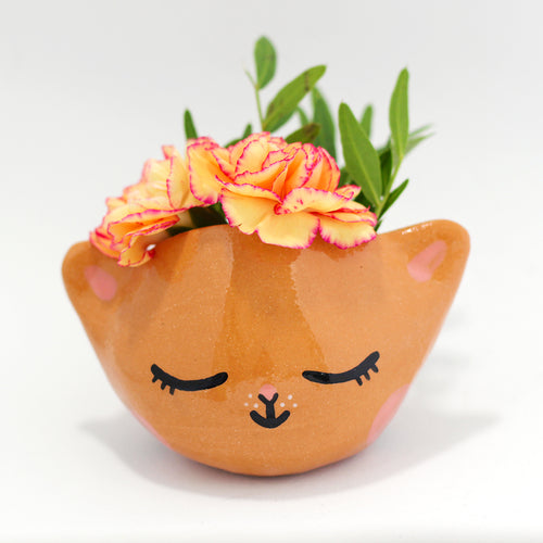 Ceramic Kitty Planter #1264 - XS