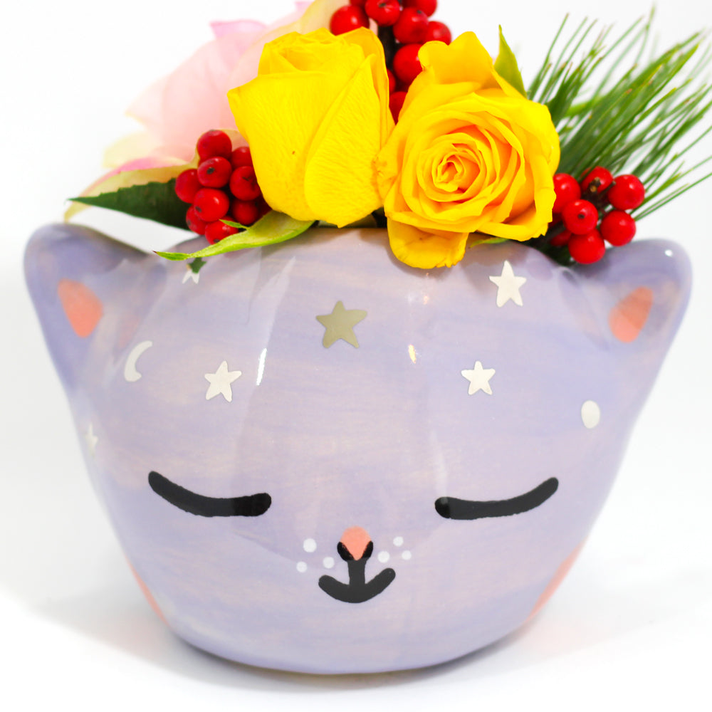 Ceramic Celestial Kitty Planter #1094 - XXL