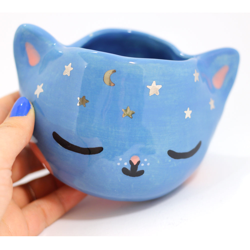 Ceramic Celestial Kitty Planter #1095 - XL