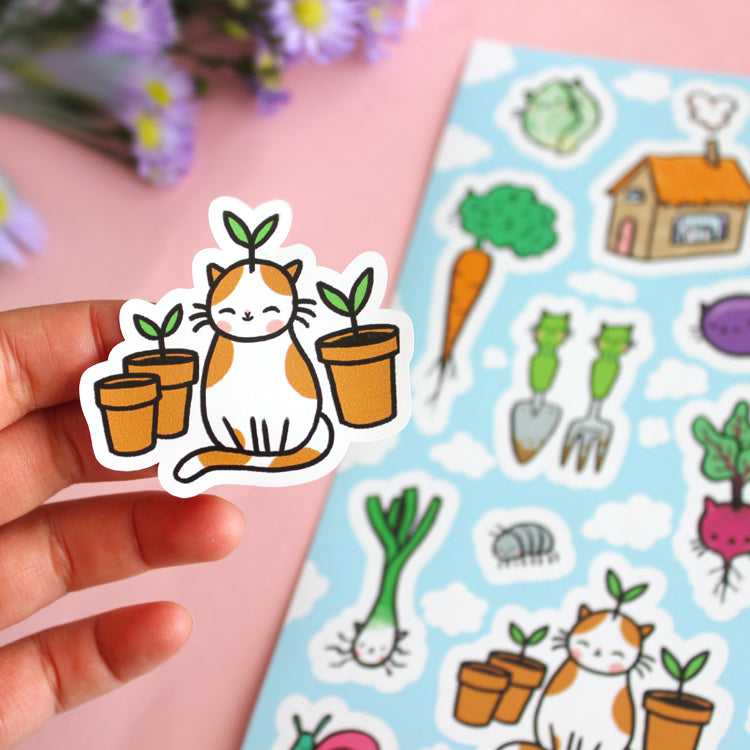 Garden Kitty Sticker Set