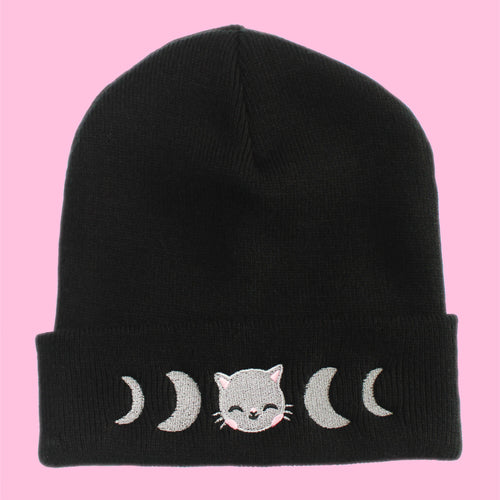 Lunar Phase Kitty Embroidered Cuffed Beanie