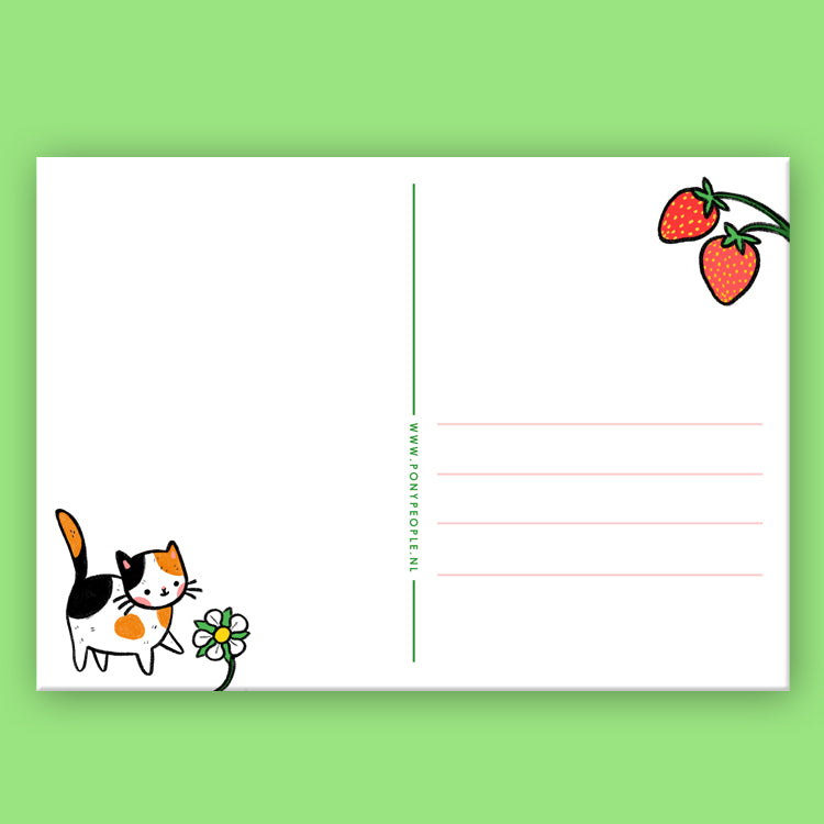Strawberry Kitty Postcard