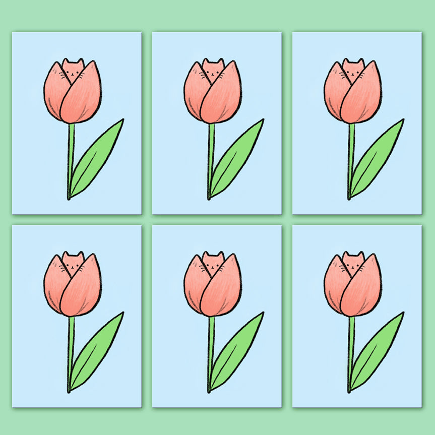 Tulip Kitty Postcard Set of 6