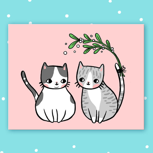 Mistletoe Kitty Postcard