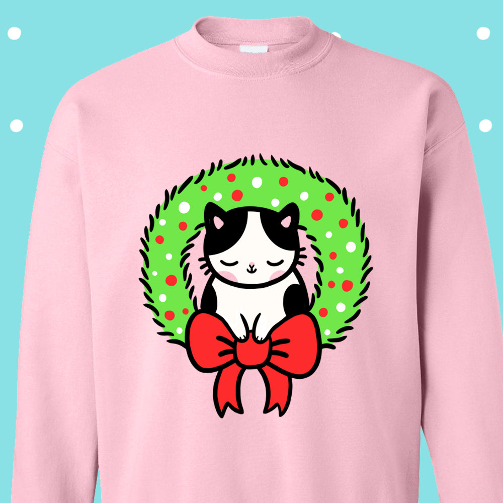 Wreath Kitty Christmas Sweater