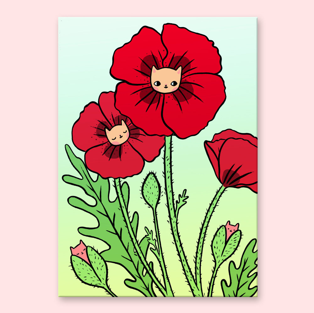 Poppy Kitty Postcard