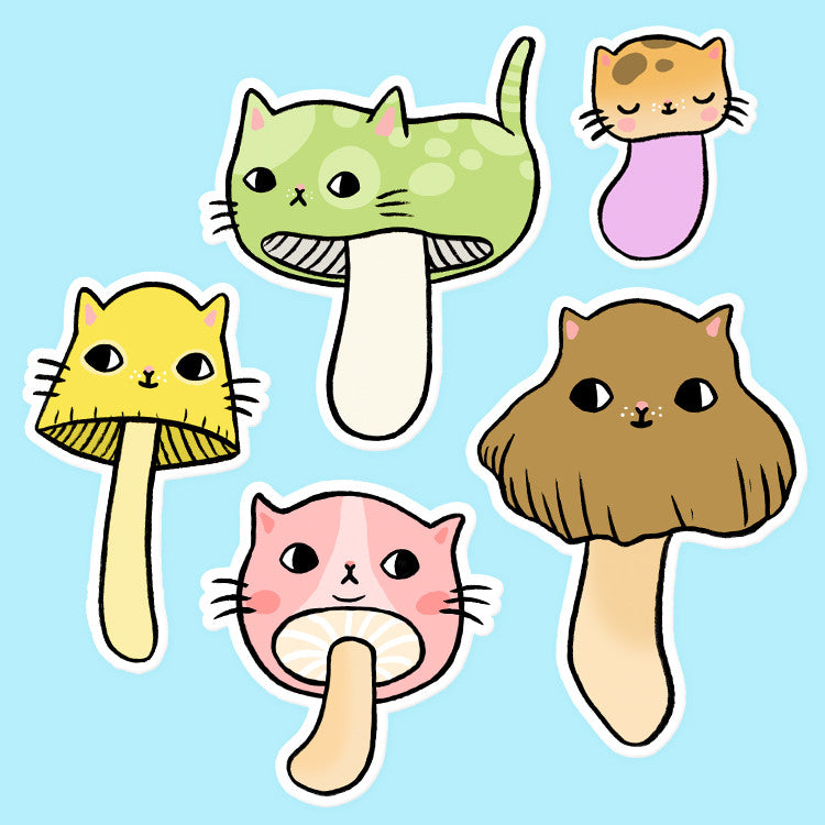 Mushroom Kitty Vinyl Sticker Set