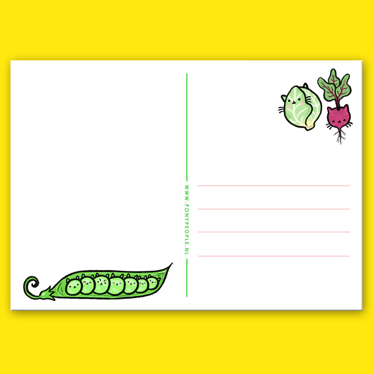 Vegetable Kitties Postcard