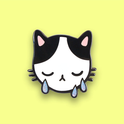 Sad Cat Enamel Pin