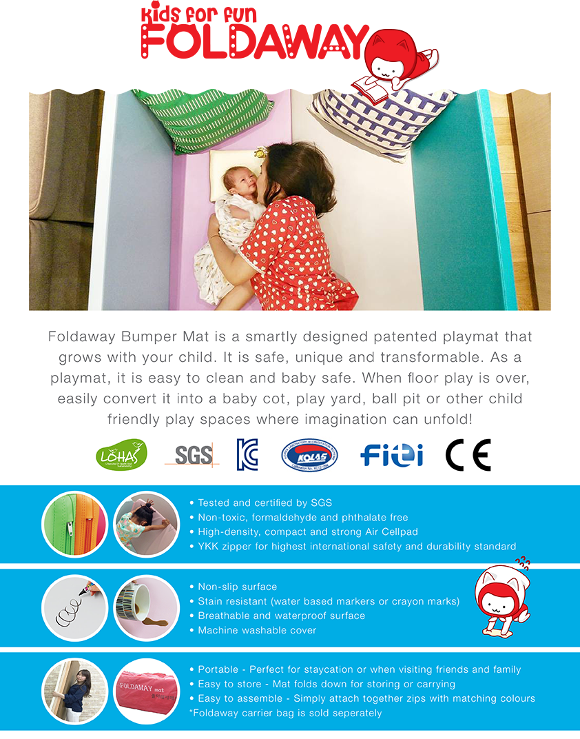 Foldaway Bumper Mat Playmat Unique Safe Versatile Multi-functional. 100% Made in Korea