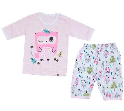 Puco Jacquard Capri Set (Forest Owl Pink)