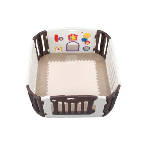Nihon Ikuji Premium Musical Play Yard - 4 Panels with Mat (Brown & Cream)