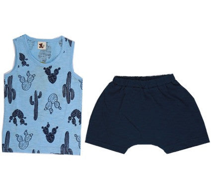 Puco Premium Sleeveless Set (Cactus Blue)