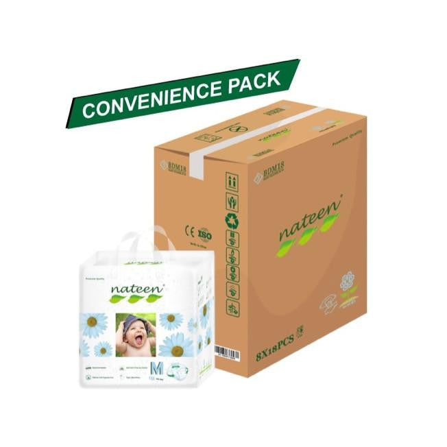 Nateen Baby Diapers M - Carton 8x18's