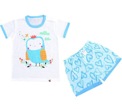 Puco Jacquard Short Sleeve Set (Soft Owl Blue)