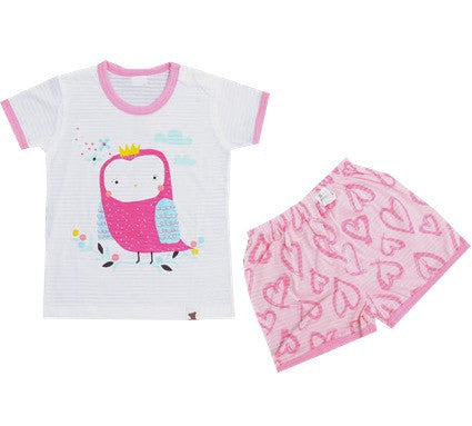Puco Jacquard Short Sleeve Set (Soft Owl Pink)
