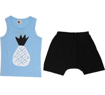 Puco Premium Sleeveless Set (Pineapple Blue)