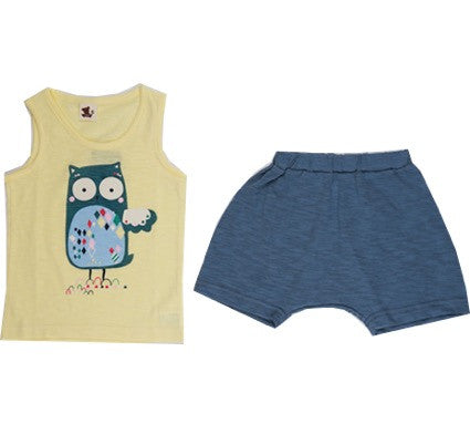 Puco Premium Sleeveless Set (Yellow Owl)