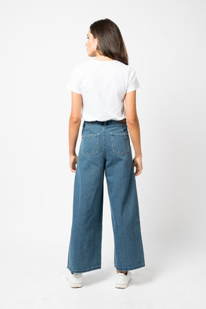 FAE LONDON - BROMLEY HIGH WAISTED KICK FLARE IN TRUE INDIGO