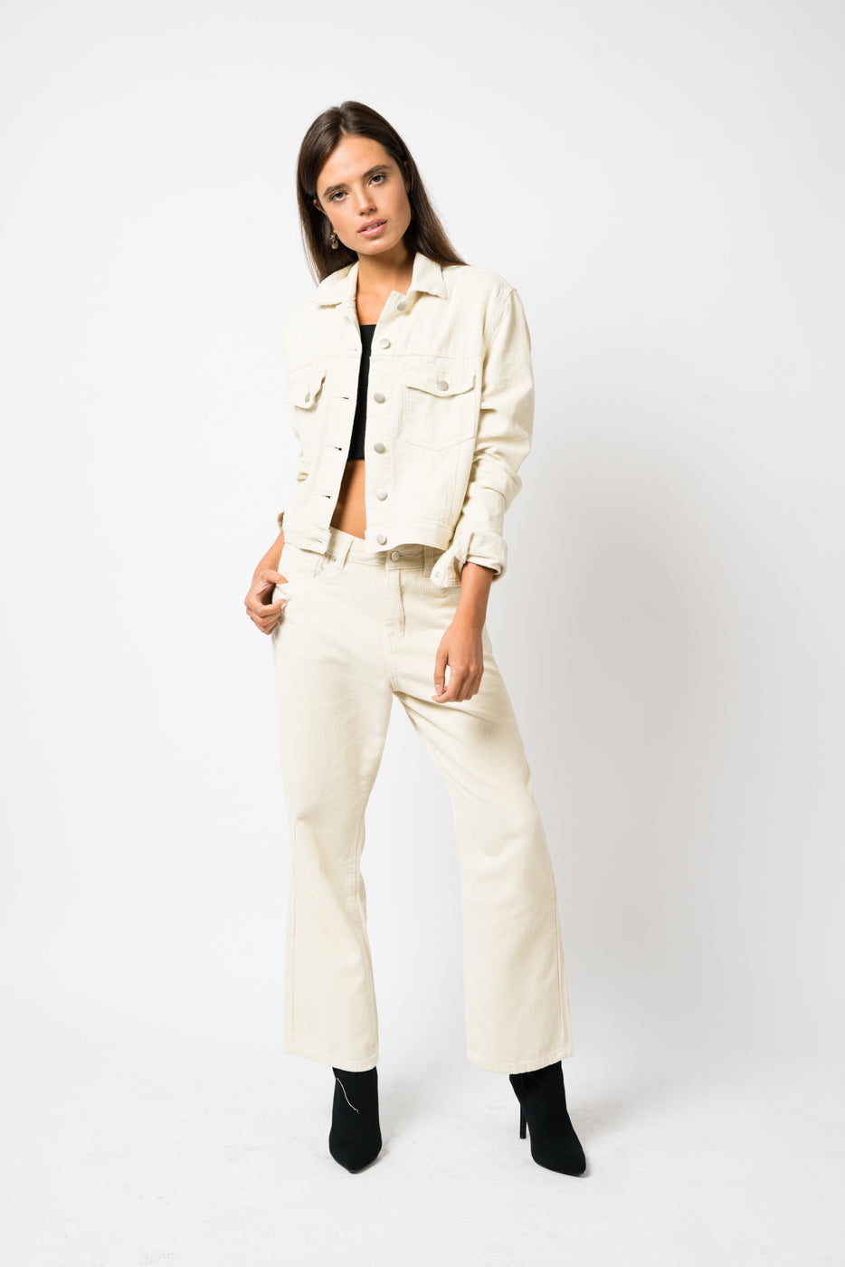 FAE LONDON - BROMLEY HIGH WAISTED KICK FLARE IN BEIGE CORD
