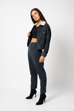 FAE LONDON - CAMBERWELL HIGH WAISTED MOM TROUSER IN NAVY CORD