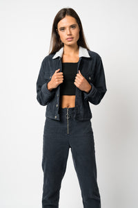 FAE LONDON - GREENWICH BOXY BORG TRUCKER JACKET IN NAVY CORD