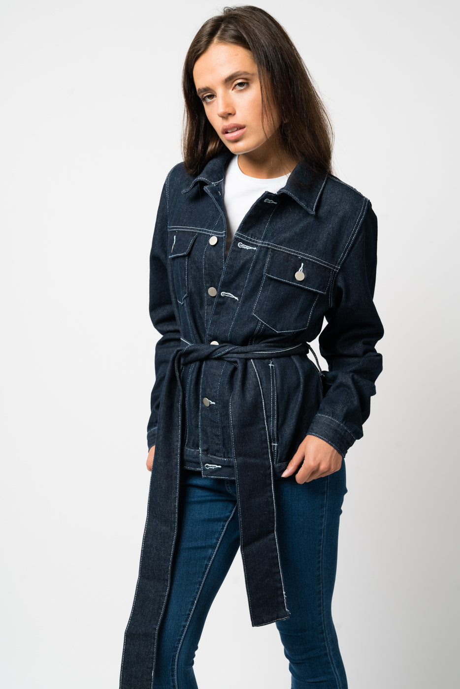 FAE LONDON - GREENWICH BOXY DENIM JACKET WITH TIE UP