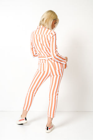 FAE LONDON - STAMFORD DENIM BOILERSUIT IN CANDYSTRIPE