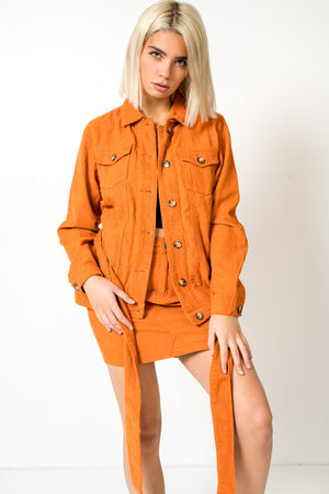 FAE LONDON - GREENWICH BOXY CORDUROY DENIM JACKET IN RUST