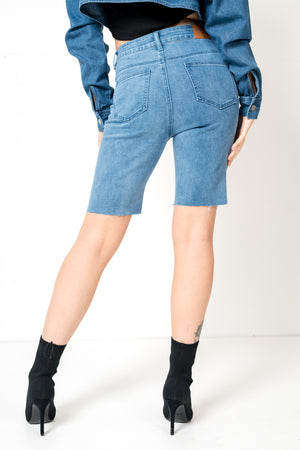 FAE LONDON - BROCKWELL VINTAGE LONGLINE DENIM SHORTS