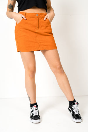 FAE LONDON - SOHO CORDUROY DENIM MINI SKIRT IN RUST