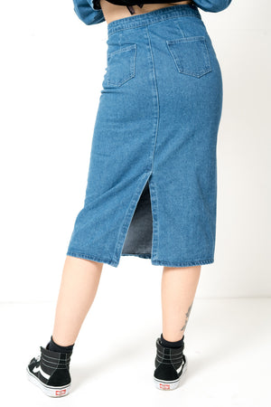FAE LONDON - BROCKWELL DENIM MIDI SKIRT WITH TORTOISE SHELL BUTTON