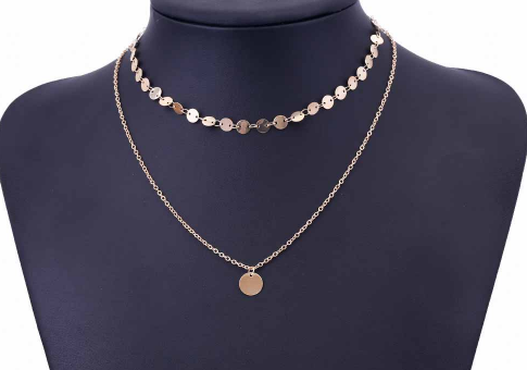 Gold Coin Layered Charm Choker Necklace