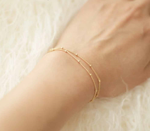 Double-Layer Satellite Chain Gold Bracelet