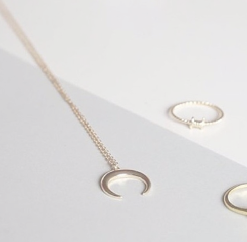 Gold Curved crescent moon necklace