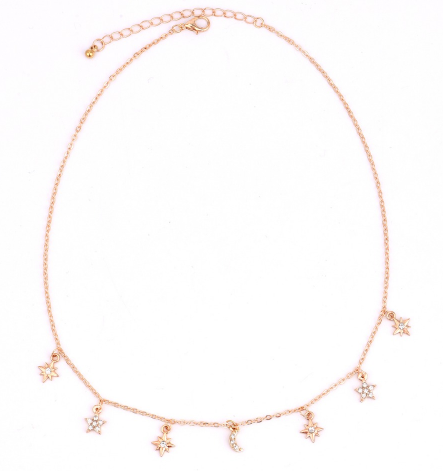 Moon & star choker necklace