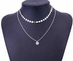 Silver Coin Layered Charm Choker Necklace